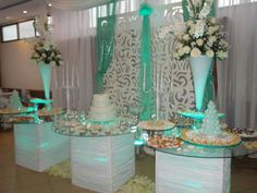Mesa de Dulces Tiffany Blue and White