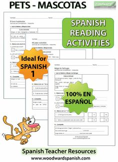 Spanish Reading Activities about Pets - Lecturas en español - Las Mascotas (Ideal for Spanish 1)