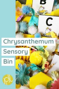 Explore this favorite read aloud with task cards and sensory bin activities! Hands-on learning for literacy and math based on Chrysanthemum by Kevin Henkes. From Positively Learning Blog #chrysanthemum #sensoryplay #sensorybin