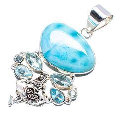 Ana Silver Co Rare Larimar, Blue Topaz 925 Sterling Silver Pendant 2'