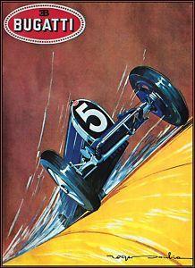Bugatti 5 / Vintage Auto Racing Poster #rocketcar #pictureBook http://OmoAndTheRocketCarRace.com/