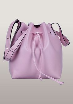 New Style Nappa Leather Medium Bucket Bag Pink