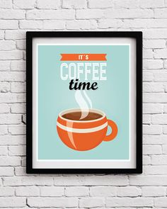 Retro Funny Coffee Time Kitchen Decor, Coffee Quote Poster, Kitchen Art, Kitchen Print, Kitchen Decor, Kitchen Art, Kitchen Posters, Retro by BlackPelican