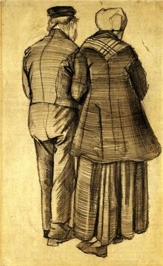 Man and Woman seen from the back - Vincent van Gogh - 1882