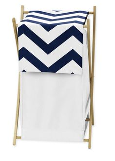 Features:  -Includes: 1 Hamper frame, 1 mesh liner, 1 fabric cover.  -Fabric: Brushed microfiber.  -Machine wash cold, gentle cycle, tumble dry low.  -Navy Blue and White Chevron collection .  Color: