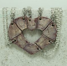 Puzzle Heart Necklaces set of 8 pendants  by GirlwithaFrogTattoo