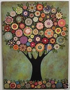 Another beautiful tree by karla gerard Karla Gerard, Abstract Tree Painting, Tableau Design, Illustration Art, Illustrations, Tree Art, Tree Collage, Button Art, Naive Art
