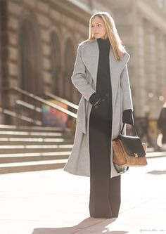 Details, long coat with button trousers / Garance Doré