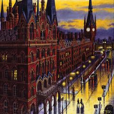 """'Night Train (King's Cross St Pancras Station)' by John Duffin. Thanks for support today folks. Art After Dark, London Painting, Night Train, Irish Art, Greater London, Chiaroscuro, London Art, Winter Art, Night City"