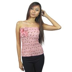Strapless elasticized tube flower print top w/decorative flower attchment-id.22879b