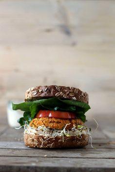 pumpkin burger with halloumi