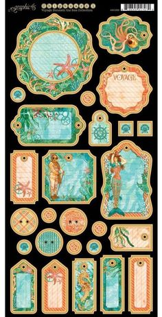 Graphic 45 ~ Voyage Beneath The Sea ~ Decorative Chipboard #1 Die Cuts 6  x 12