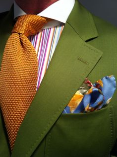 WIWT my new MTM summer green Scabal jacket fitted by Lowet Tailors, RL Purple Label multi-colored striped shirt, floral print silkEtro square& orange Tom Ford knit