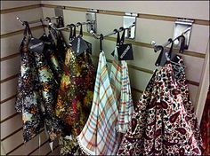 With a thread documenting scarves and scarf fixturing, I could not ignore this Kerchief Single Prong Hook and display of Neckerchiefs. Slat Wall, Neckerchiefs, Visual Merchandising, Wardrobe Rack, Display, Pocket Squares, Hooks, Floor Space, Chalkboard Walls