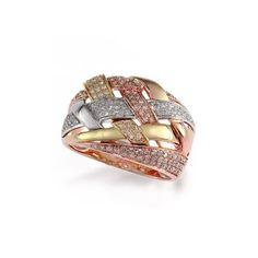 Effy Jewlery Effy Trio 14K Tri Color Gold Diamond Ring, 0.47 TCW Ring