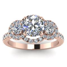 Expensive 3 Stone Round Cut Halo Engagement Ring with Diamonds in 14K Rose Gold  exclusively styled by Fascinating Diamonds