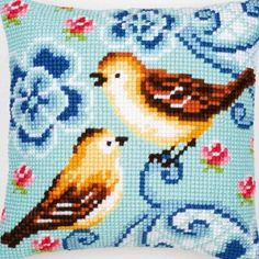 I kind of love this even though it's ferociously cheesy.  birds in love cross stitch pillow kit.  €22.95