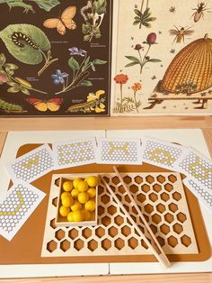 Hello little bee lovers! This set is a great way to engage your little one in fine motor skills, mapping, hand eye coordination, precision and patience.This set includes:Honeycomb base board, 18 yellow wooden balls, 7 mapping cards and Wooden tongs! Honeycomb base measures 25x25x1 cm Ages 3+ Always supervise childr