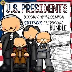 Make research and writing biographies on American presidents fun and interesting with this collection of editable flipbooks. https://www.teacherspayteachers.com/Product/PRESIDENTS-DAY-BIOGRAPHY-2361502