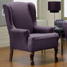 Fresca Aubergine Wing Chair Slipcover, Purple slipcover, home decor, chic furniture pattern, contemporary and transitional design.