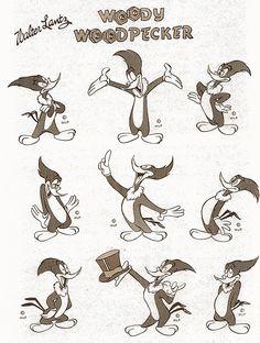 woody the woodpecker model sheet Famous Cartoons, Retro Cartoons, Old Cartoons, Classic Cartoons, Animated Cartoons, Character Model Sheet, Character Modeling, Character Drawing, Character Design