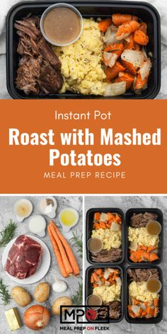 Instant Pot Roast with Mashed Potatoes - Meal Prep on Fleek™ pot recipes meal prep Instant Pot Roast with Mashed Potatoes Lunch Meal Prep, Easy Meal Prep, Healthy Meal Prep, Dinner Meal, Healthy Eats, Healthy Foods, Potato Recipes, Lunch Recipes, Healthy Dinner Recipes