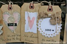 Kraft paper tags, doilies, hearts and lace tags - This would make cute cards or dogs for C & C's new business if I can come up with a theme and use their colors. Card Tags, Gift Tags, Paper Tags, Kraft Paper, Love Tag, Idee Diy, Tag Art, Cute Cards, Wedding Decor