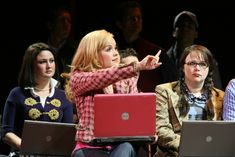 Don't like the computer because Elle is supposed to be unprepared but hers looks newer and so she looks MORE prepared than (who I assume are) Enid or Vivian. Legally Blonde Broadway, Legally Blonde Quotes, Harvard Students, Reese Witherspoon, Musical Theatre, Musicals, Dance, Costumes, Guys