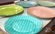 DIY::scrapbooking papers   modpodge   glass plates = easy, cute plates