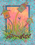 Laura Wasilowski's fused art quilts