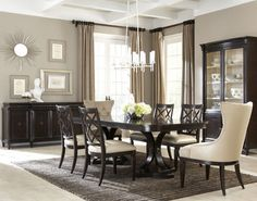 Classic Double Pedestal Dining Room Set with Upholsered Arm Chairs 12884. [A.R.T. Furniture]