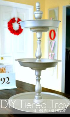 DIY three tiered tray from At The Picket Fence using Dollar Tree trays. great idea for the bathroom would hold a lot of stuff Crafts To Do, Diy Crafts, Tiered Stand, Ideias Diy, Dollar Tree Crafts, Tray Decor, Do It Yourself Home, Dollar Stores, Diy Home Decor