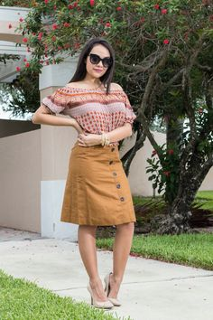 Stylishlyinlove.blogspot.com Off the shoulder summer top and button down skirt. Very trendy for summer