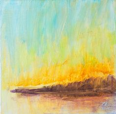 Abstract Painting 6x6 Square Landscape Abstract by GwenDudaStudios, $50.00