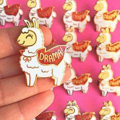 Drama Llama Hard Enamel Pin // kawaii alpaca glitter funny