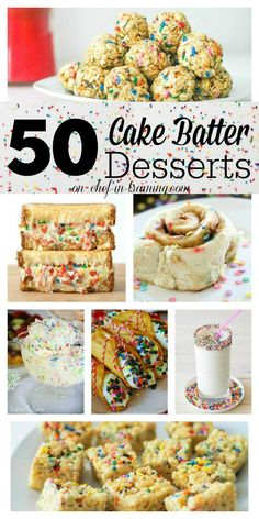 Cake Batter Desserts 50 Delicious Cake Batter Desserts at chef-in-… If you love cake batter, you need to see this Delicious Cake Batter Desserts at chef-in-… If you love cake batter, you need to see this list! Köstliche Desserts, Delicious Desserts, Dessert Recipes, Yummy Food, Tea Recipes, Plated Desserts, Yummy Treats, Sweet Treats, Gastronomia
