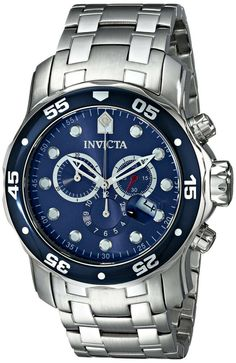 Invicta Men's 0070 Pro Diver Collection Analog Chinese Quartz Chronograph Silver Stainless Steel Watch - deal and steals with difficult people Stainless Steel Watch, Stainless Steel Bracelet, Swiss Watches For Men, Cool Watches, Men's Watches, Casio Watch, Luxury Watches, Bracelets For Men, Chronograph