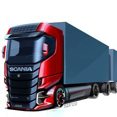 Learn how to draw a car using our step by step tutorials. Sports cars, classic cars, imaginary cars - we will show you how to draw them like the pros. Future Trucks, New Trucks, Car Design Sketch, Truck Design, Jdm, Supercars, Scania V8, Automobile, Truck Art
