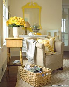 Martha Stewart yellow and tan room love yellow mirror