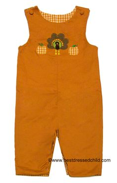 Glorimont Baby Boys REVERSIBLE Longall - Orange Check with Halloween Ghosts / Solid Orange with Thanksgiving Turkey