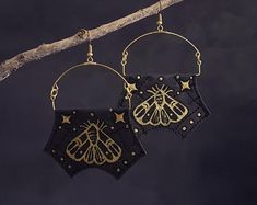 Moth Earrings - Black and Gold - Handpainted Jewellery - Fabric Earrings - Witchy Jewellery Fabric Earrings, Hand Painted, Trending Outfits, Unique Jewelry, Moth, Handmade Gifts, Crafts, Jewellery, Etsy