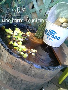 (DIY) Find & Fix it Friday: old wine barrel turned fountain