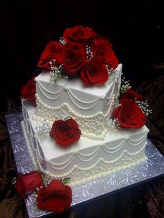 Two Tier Square with Red Roses      2-26-11