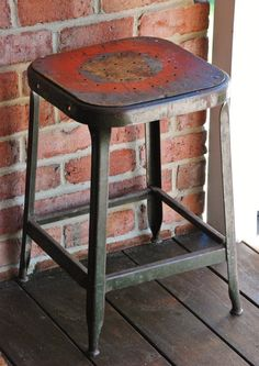 FREE SHIPPING!!  Urban Industrial Machine Shop Stool - Vintage Lyon Factory Work Stool - Shabby Metal Stool with Original Chip Board Seat