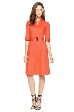 'Damalen' | Stretch Cotton Belted Dress by BOSS Model Damalen 50272313 Light/Pastel Red HUGO BOSS