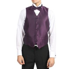 @Overstock.com - Ferrecci Men's Dark Royal Purple 4-piece Vest Set - Sleek and modern, this distinctive vest set from Ferrecci features a chic diamond pattern. With an adjustable back and a 5-button closure, this vest arrives with a coordinating necktie, bow-tie and pocket square for today's regal gentleman.  http://www.overstock.com/Clothing-Shoes/Ferrecci-Mens-Dark-Royal-Purple-4-piece-Vest-Set/8704673/product.html?CID=214117 $45.99