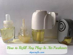 Money Saving DIY – How to Refill Any Plug-in Air Freshener This is a great DIY trick for refilling those oil plug-ins without having to pay for the refills. Let's face it, when you buy the refill oils you are mostly paying for the container that they come in.