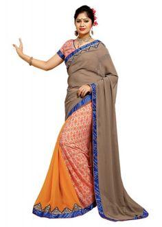 Casual Wear Multicolour Georgette Saree  - TM-185