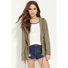 Forever 21 Women's  Hooded Utility Jacket ($40) ❤ liked on Polyvore featuring outerwear, jackets, woven jacket, hooded zip jacket, utility jacket, hooded utility jacket and forever 21 jackets