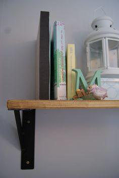 Rustic wooden shelf & two industrial wall brackets, £49.99